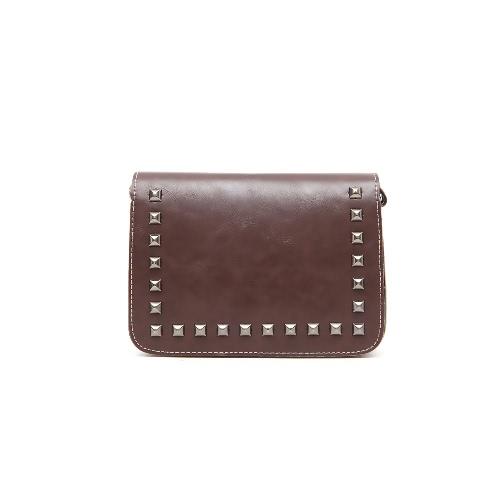 New Fashion Women Shoulder Bag Flap Top Rivet Decoration Adjustable Straop Solid Vintage Crossbody Bag