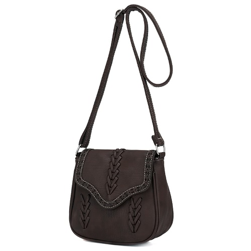 Nowe modne kobiety Crossbody Torba PU Leather Hollow Out tkane plecione Vintage Casual Shoulder Bag