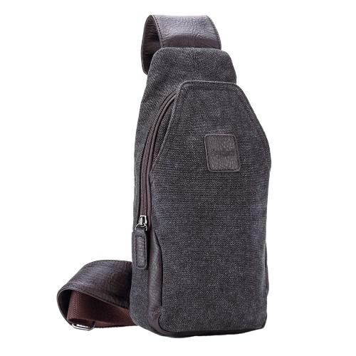Los nuevos hombres de la lona del bolso de la cremallera bolsillos magnéticos con botones de presión interior al aire libre ocasional pequeño bolso de color caqui / café
