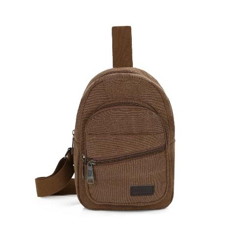 Homens Canvas Vintage Peito Bag alça ajustável Zipper Shoulder Outdoor Sling Crossbody Durable Bag