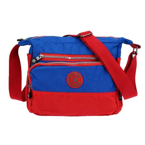 Outdoor Casual Women's Color Block Multi Pockets Nylon Crossbody Bag