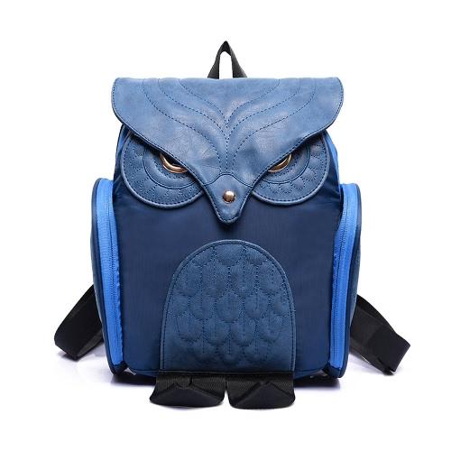 New Fashion Women Owl Shape Backpack Flap Over Zipper Pocket Solid Color Satchel Student Bags