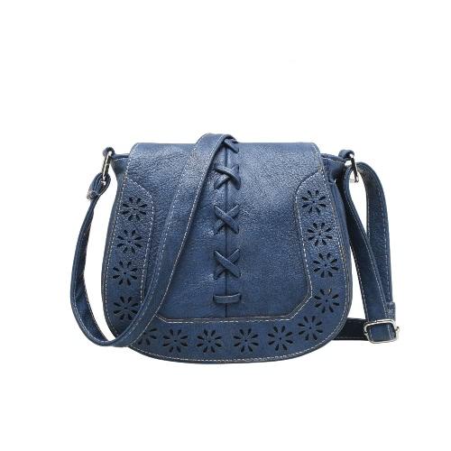 Nowe mody Kobiety Shoulder Bag PU Leahther Flap Braid drążą Regulowany pasek na ramię Vintage Crossbody Bag
