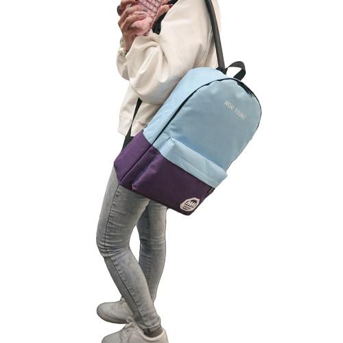New Fashion Women Plecak Kontrast Kolor Letter Drukuj Duża pojemność Chłodny Student Bagaż Laptop Torba podróżna Czerwony / Niebieski / Biały