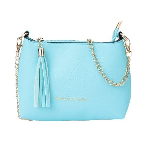 New Women Crossbody Bag PU Leather Tassel Zipper Solid Color Casual Vintage Shoulder Bags