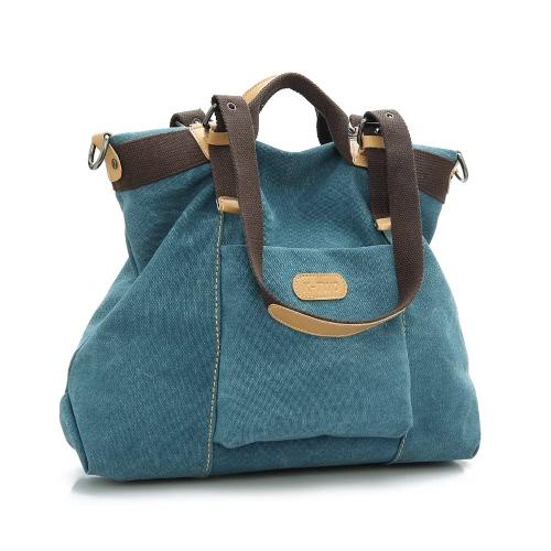 New Moda feminina Shoulder Bag Canvas Sólidos PU guarnição Zipper Fixação Handbag Crossbody Casual