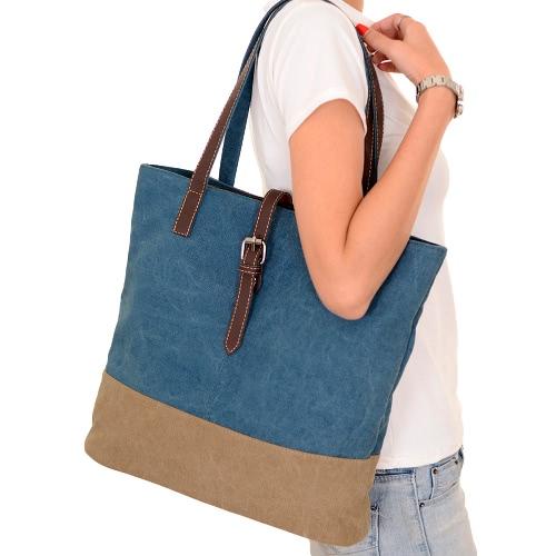 Women Canvas Handbag Contrast Splicing Zipper Multi-Pocket Large Capacity Casual Laptop Bag Shoulder Tote Bag, TOMTOP  - buy with discount