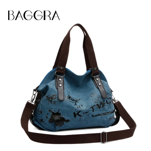 New Women Canvas Crossbody Bag Handbag Zipper Leather Multi-pockets Prints Vintage School Bag