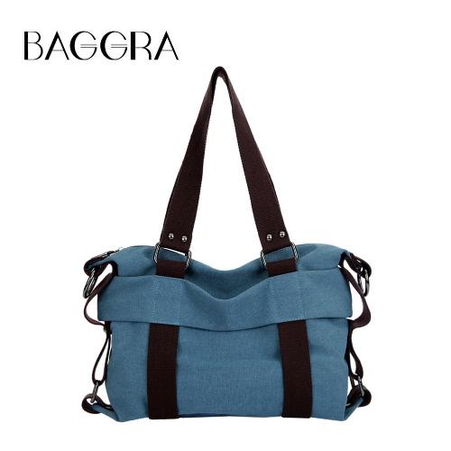 Women Canvas Crossbody Bag Handbag Contrast Splicing Zipper Multi-Pocket Large Capacity Shoulder Tote Bag