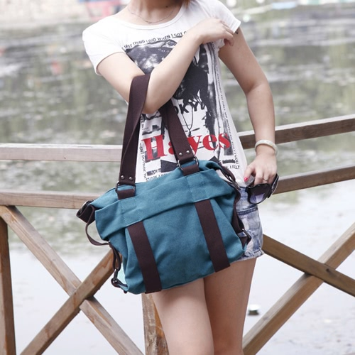 Women Canvas Crossbody Bag Handbag Contrast Splicing Zipper Multi-Pocket Large Capacity Shoulder Tote Bag, TOMTOP  - buy with discount