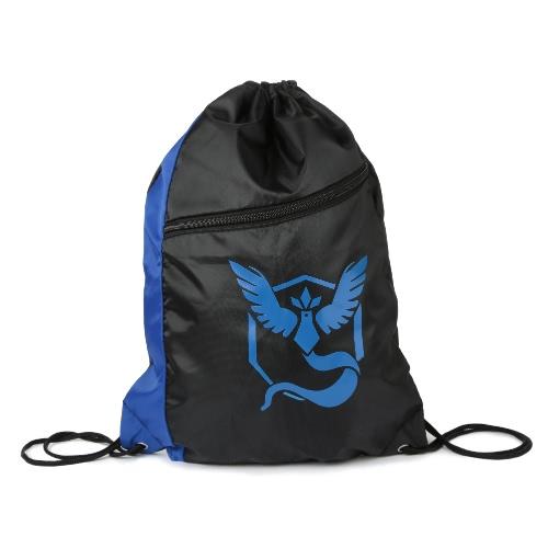 Neue Unisex Nylon Drawstring-Beutel-Rucksack-Wasser-Beweis-Reißverschluss-Kontrast-Farben-Druck-große Kapazität Lässige Tasche Tasche