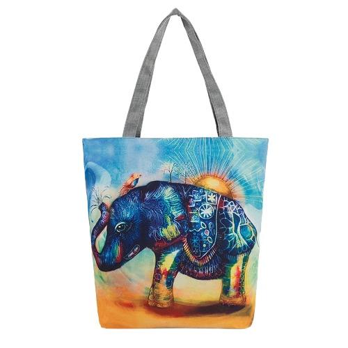 Neue Frauen-Segeltuch-Handtaschen-Tierdruck-Schulter-Beutel-große Kapazität beiläufige Einkaufstasche Tote