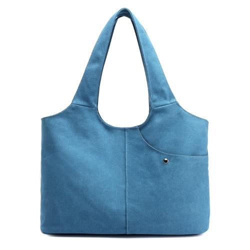 Bolso del bolso de hombro de la lona de las mujeres Bolsillos de la cremallera de la capacidad grande Totes Bolso de compras durable grande