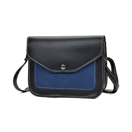 Fashion Women Contrast Color PU Leather Crossbody Torba Flap Front Vintage Torba na ramię