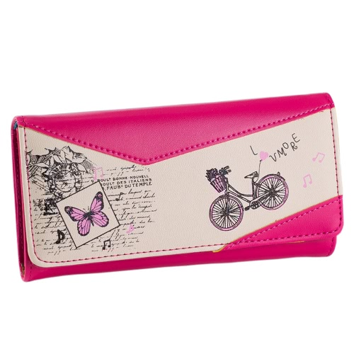 New Fashion Women Long Purse Bicycle Butterfly Print Press Stud PU Leather Cute Coin Bill Card Bag Wallet