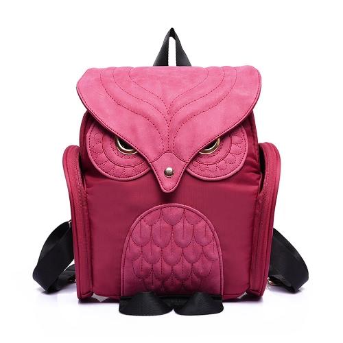 Neue Mode Frauen Owl Form Rucksack Klappe über Reißverschluss Taschenbeutel Volltonfarbe Satchel Student
