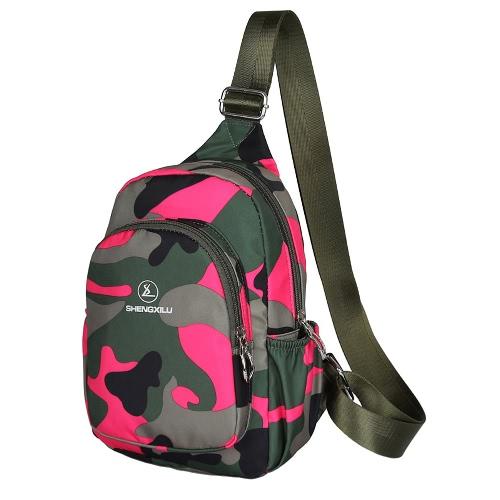 New Mulheres Moda Casual Crossbody Bag Multi-bolso militar da camuflagem impressão Zipper Outdoor Saco pequeno baú bolsa de ombro