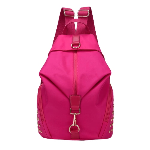 Mulheres Moda à prova de água mochila de nylon Grab Handle Zip Fixação Pockets Bolsas Travels escola