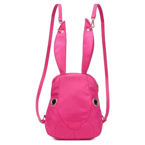 Las nuevas mujeres de nylon mochila lindo conejo de dibujos animados bolsillos impermeable del bolso de hombro ocasional fresca de la cremallera