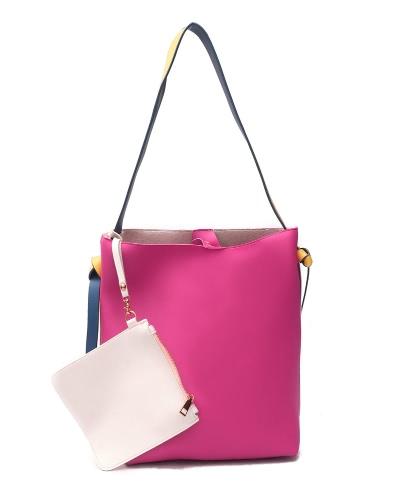 Frauen Schultertasche Set PU Leder Kontrast Eimer Tasche Zipper Wallet Münze Tasche 2 Stück Rose