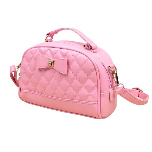 Nuevo las mujeres bolso cuero PU Bowknot Color caramelo cremallera Casual pequeña bandolera hombro Messenger bolsa bolsa