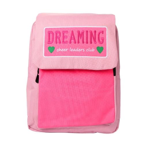 Women Canvas Backpack Contrast Color Large Capacity Zipper Cover Adjustable Strap Laptop Bag Casual School Travel Bag