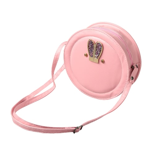 New Women Girls Crossbody Bags PU Leather Round Shape Rabbit Ear Cute Casual Small Mini Shoulder Bag