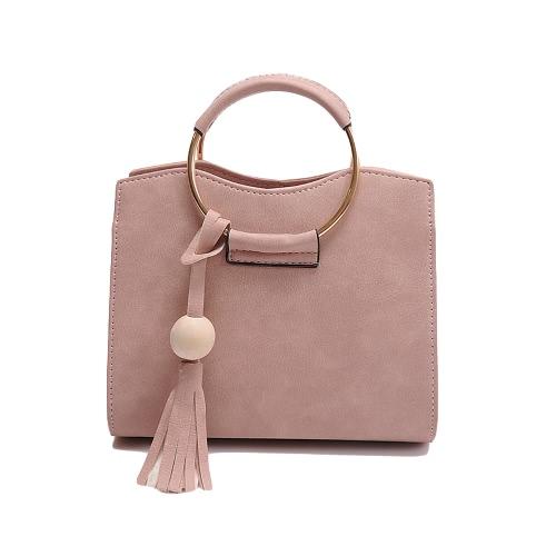 Nuevo bolso la mujer del anillo del metal bolso de cuero de la PU de la manija de la borla de asas del bolso de Crossbody Negro / gris / rosa