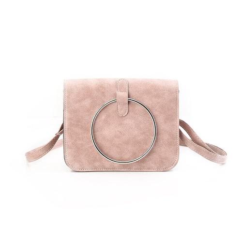 Las niñas del hombro de la nueva vendimia de las mujeres de Crossbody del mensajero bolsa anillo de metal bolsa de cuero de la PU pequeño bolso