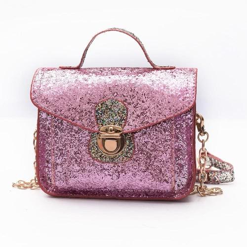 New Mulheres Moda Mini Bandoleira Sacos lantejoulas PU de couro cadeia de ombro Messenger Bag Bolsa de-rosa / preto / prata