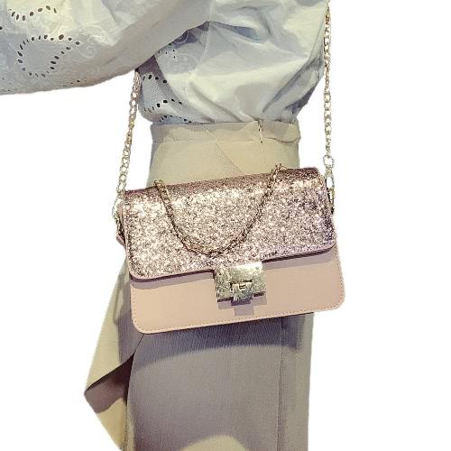 Frauen mit Pailletten Umhängetasche PU-Leder Flap vorderen Kettengriffband beiläufige Minihandtasche Crossbody Beutel