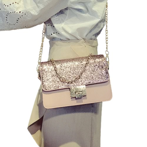 Mulheres Lantejoulas Bolsa de Ombro PU Flap Couro Cadeia Frente Strap Handle Casual Mini Handbag Crossbody Bag