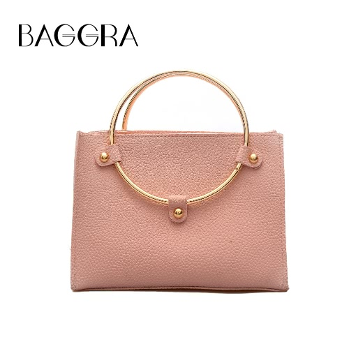 Women Metal Ring Handbag PU Leather Shoulder Tote Bag Ladies Messenger Crossbody Bag Black/Grey/Pink