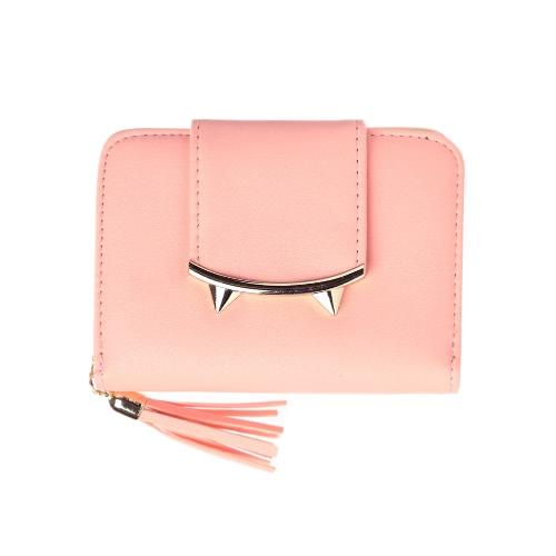 Nuevo monedero lindo de la tarjeta de crédito del efectivo de la borla de la carpeta de la PU del Anime del gato de las nuevas mini negro / color de rosa / gris