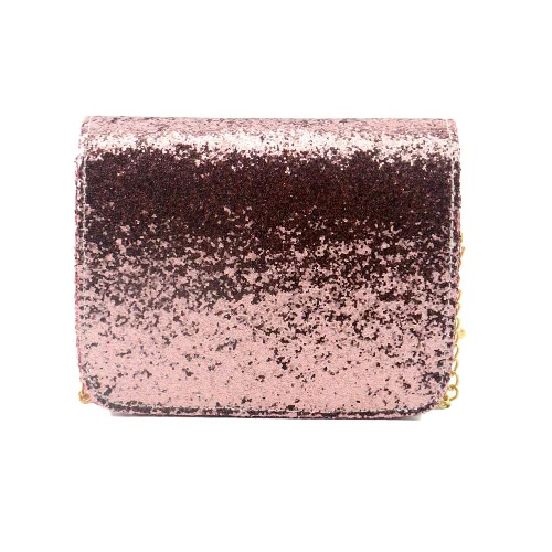 New Fashion Women Sequin Shoulder Bag Shiny Glitter Chain Bag Pu Leather Flap Party Crossbody Bag Pink/Purple