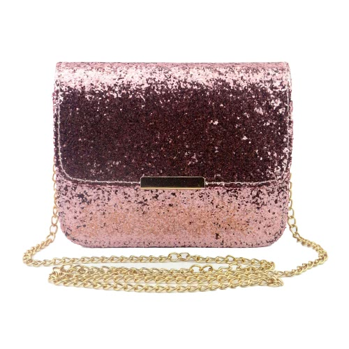 New Fashion Women Sequin Shoulder Bag Shiny Glitter Chain Bag Pu Leather Flap Party Crossbody Bag Rosa / Roxo