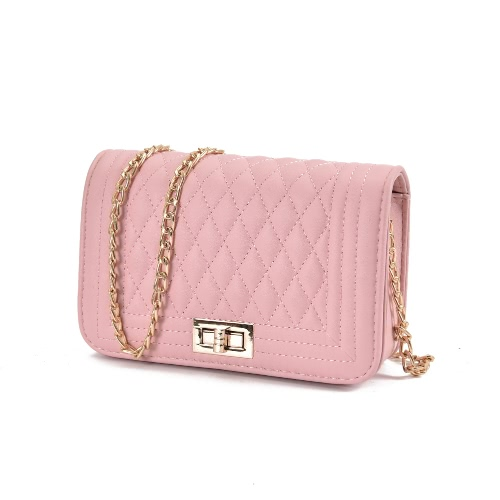 Bolsa de hombro de mujer clásica Mujer Vintage Mini bolsa de solapa Pequeña cadena acolchada Bolso Messenger Messenger Crossbody Rosa / Negro / Beige