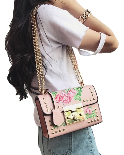 Women Floral Embroidered Shoulder Bag Chain Rivets PU Leather Flap Front Casual Mini Crossbody Bag
