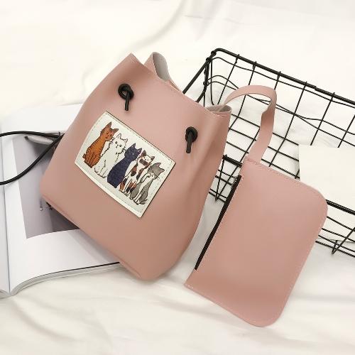 Bolso de Crossbody de las mujeres lindas Set de dos piezas contrast Gatos Print Bolso de embrague de la bolsa de mensajero Shoulder Drawstring