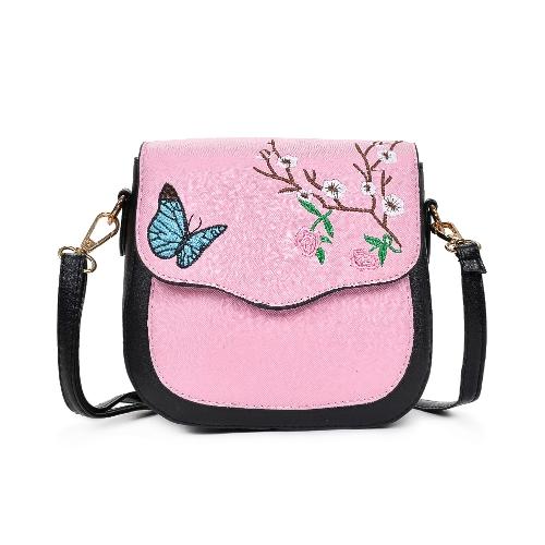 Bolso de Crossbody del bolso de las mujeres de la muchacha Bolsos de hombro del bloque del color del bordado Bolso elegante del mensaje de la PU pequeña
