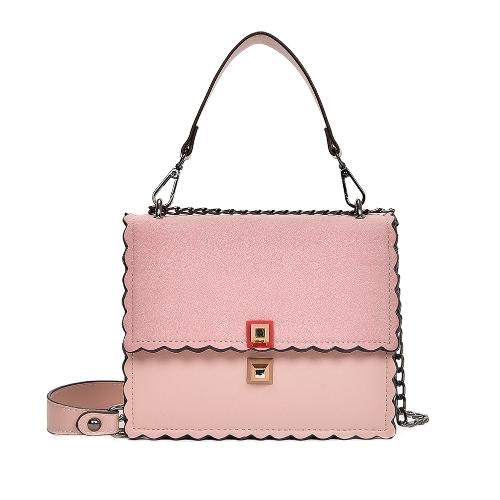Bolso de la bolsa de mensajero de las mujeres Bolso de la cadena de la PU Bolso de la PU de las muchachas del cuero de Honor pequeño festoneado