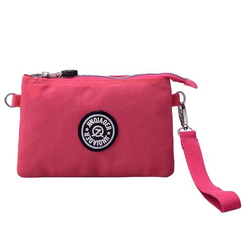 Moda Nylon Wodoodporne Wiele Zipper Kieszenie Purse Clutch Bag