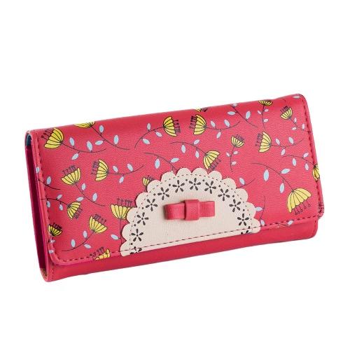 Nova moda de mulheres muito tempo bolsa PU couro contraste cor de doce-leão carteira telefone titular do cartão