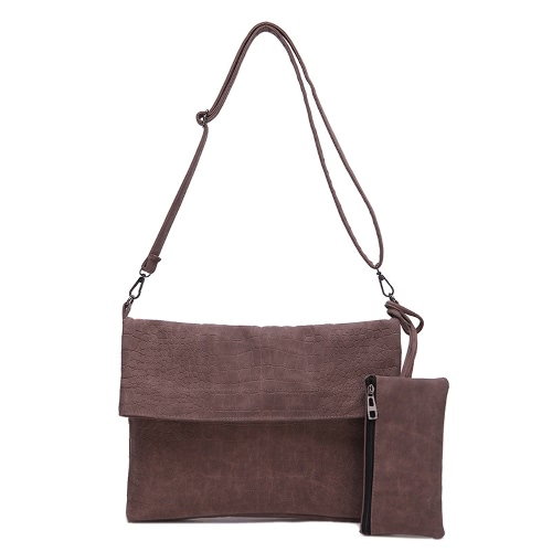 New Fashion Women Shoulder Bag PU Leather Flap Front Zipper Pocket Messenger Handbag Clutch Bag Two Pieces