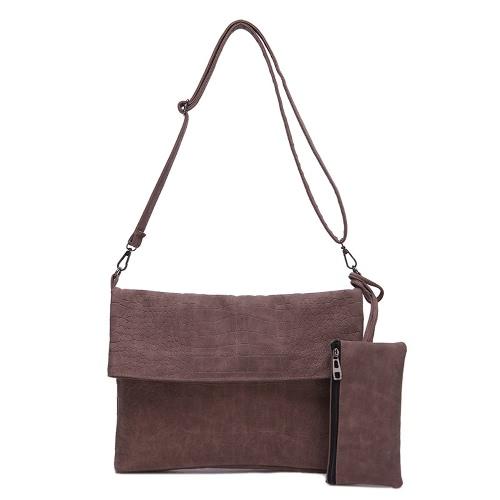 Neue Mode Frauen Umhängetasche PU Leder Klappe Frontreißverschluss Tasche Messenger Handtasche Clutch Bag zwei Stücke