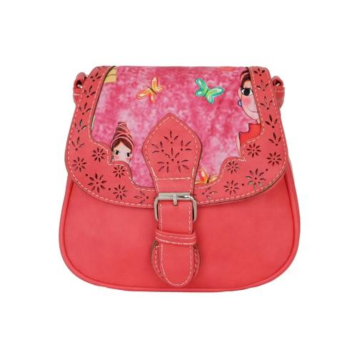 Nowej kobiet Crossbody Bag PU Print Hollow Out Zipper Snap Pokrywa Wielu Kieszenie Vintage ramię Messenger Torby Shell