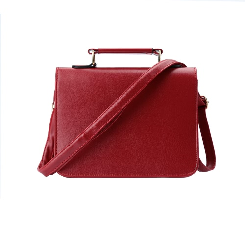 Women Small Shoulder Bag PU Leather Rivet Round Panel Flap Front Shoulder Strap Casual Handbag Crossbody Bag