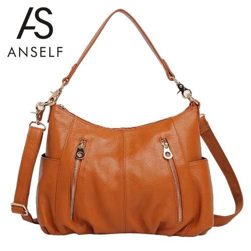 New Fashion Women Handbag PU Leather Zipper Grad Handle Shoulder Crossbody Bag