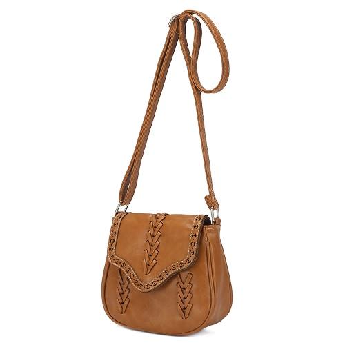 Nueva moda mujer bandolera PU cuero hueco hacia fuera tejido trenzado Vintage bolso Casual