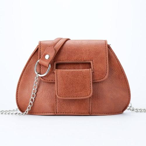 Fashion Vintage Women Crossbody Bag Magnetic Press Stud Flap Front PU Leather Chain Shoulder Bag
